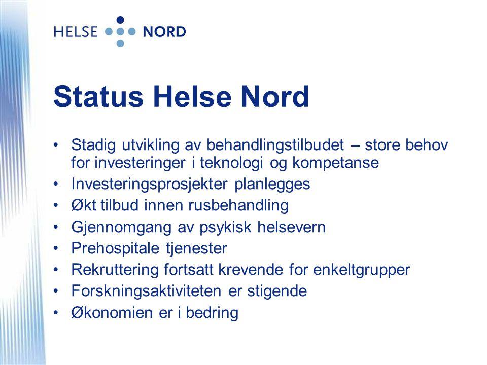 Status Helse Nord •Stadig utvikling av behandlingstilbudet – store behov for investeringer i teknologi og kompetanse •Investeringsprosjekter planlegge