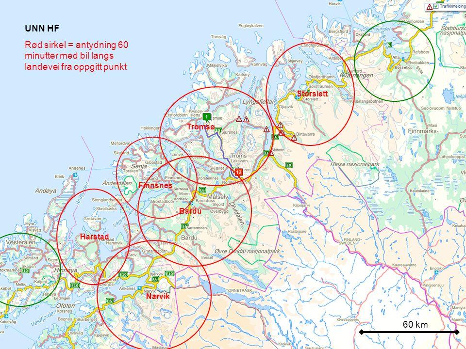 60 km UNN HF Rød sirkel = antydning 60 minutter med bil langs landevei fra oppgitt punkt Harstad Bardu Tromsø Storslett Narvik Finnsnes