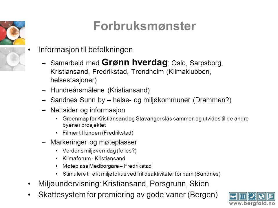 Forbruksmønster •Informasjon til befolkningen –Samarbeid med Grønn hverdag : Oslo, Sarpsborg, Kristiansand, Fredrikstad, Trondheim (Klimaklubben, hels