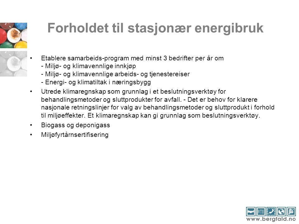 Forholdet til stasjonær energibruk •Etablere samarbeids-program med minst 3 bedrifter per år om - Miljø- og klimavennlige innkjøp - Miljø- og klimaven
