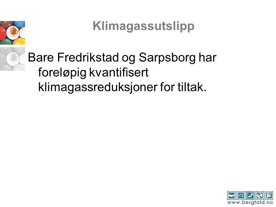 Klimagassutslipp Bare Fredrikstad og Sarpsborg har foreløpig kvantifisert klimagassreduksjoner for tiltak.