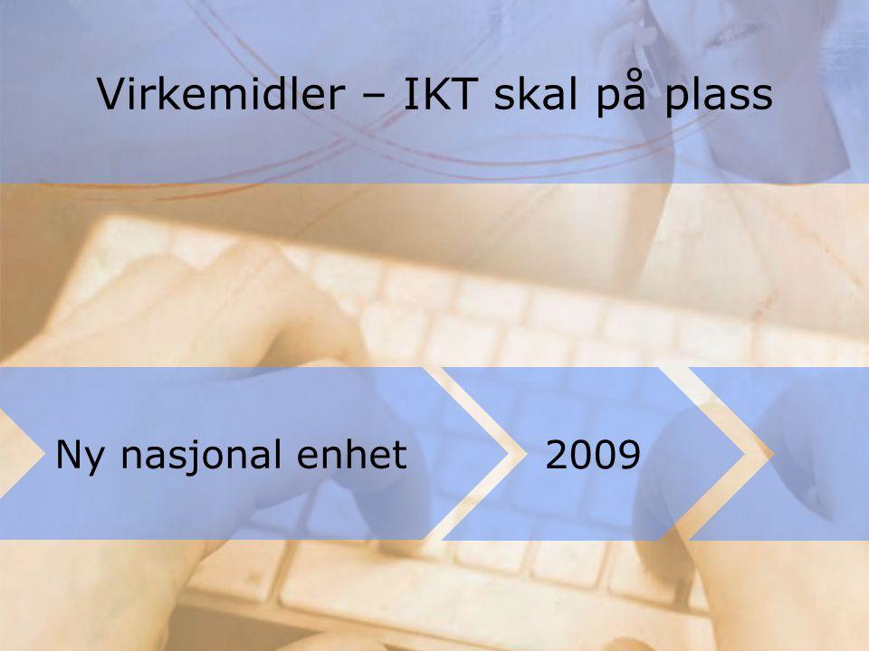 Virkemidler – IKT skal på plass Ny nasjonal enhet 2009