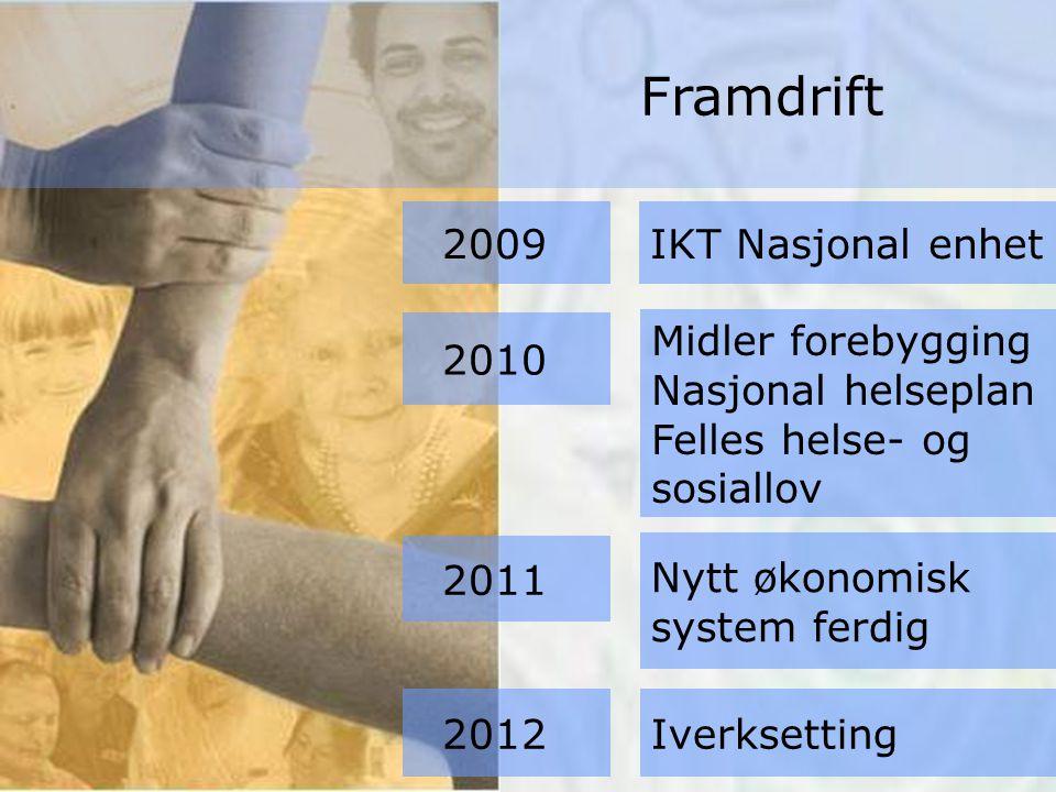 Midler forebygging Nasjonal helseplan Felles helse- og sosiallov Nytt økonomisk system ferdig Iverksetting 2009 2010 IKT Nasjonal enhet 2011 2012 Framdrift