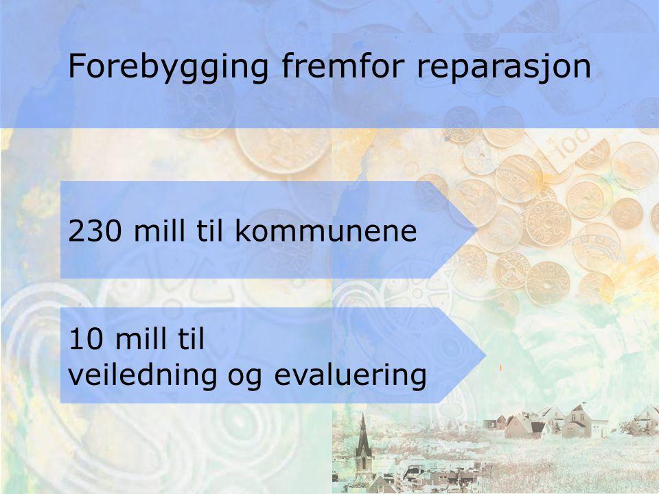 230 mill til kommunene 10 mill til veiledning og evaluering Forebygging fremfor reparasjon