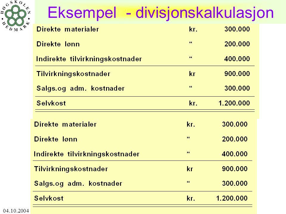 04.10.2004 Harald Romstad ØSIR12 Eksempel - divisjonskalkulasjon