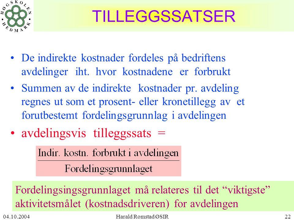 04.10.2004 Harald Romstad ØSIR22 TILLEGGSSATSER •De indirekte kostnader fordeles på bedriftens avdelinger iht.