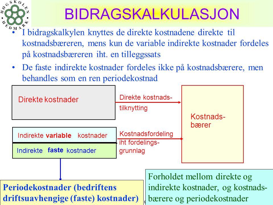 04.10.2004 Harald Romstad ØSIR26 BIDRAGSKALKULASJON •I bidragskalkylen knyttes de direkte kostnadene direkte til kostnadsbæreren, mens kun de variable indirekte kostnader fordeles på kostnadsbæreren iht.