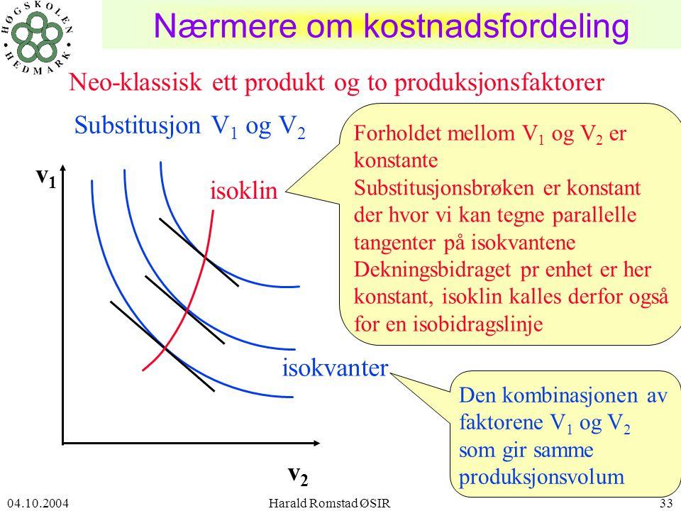 04.10.2004 Harald Romstad ØSIR33 Nærmere om kostnadsfordeling isokvanter Substitusjon V 1 og V 2 v2v2 v1v1 Neo-klassisk ett produkt og to produksjonsfaktorer Forholdet mellom V 1 og V 2 er konstante Substitusjonsbrøken er konstant der hvor vi kan tegne parallelle tangenter på isokvantene Dekningsbidraget pr enhet er her konstant, isoklin kalles derfor også for en isobidragslinje Den kombinasjonen av faktorene V 1 og V 2 som gir samme produksjonsvolum isoklin
