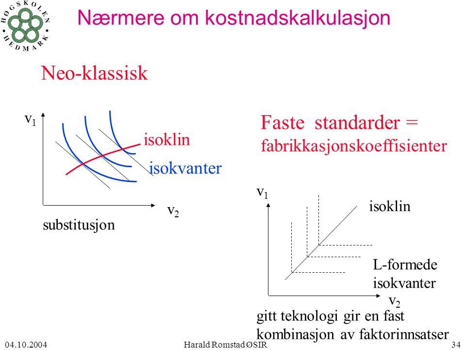 04.10.2004 Harald Romstad ØSIR34 Nærmere om kostnadskalkulasjon v1v1 isokvanter substitusjon v2v2 L-formede isokvanter isoklin gitt teknologi gir en fast kombinasjon av faktorinnsatser isoklin v2v2 v1v1 Neo-klassisk Faste standarder = fabrikkasjonskoeffisienter