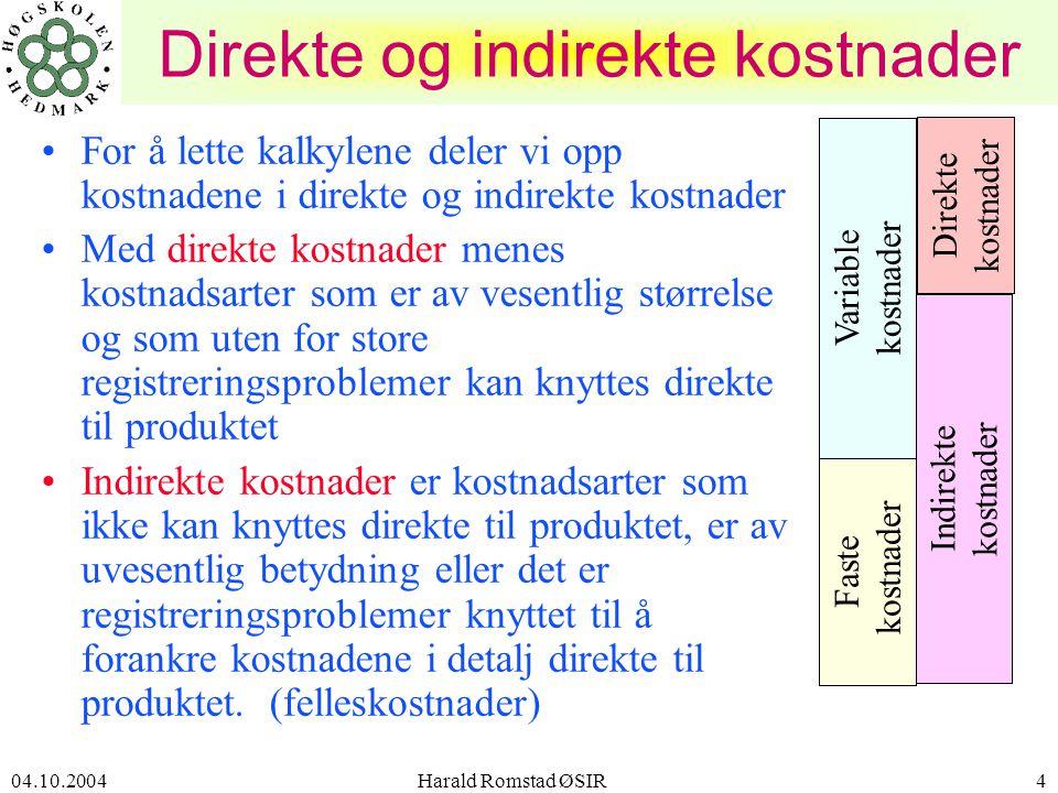 04.10.2004 Harald Romstad ØSIR25 SELVKOSTKALKYLEN • materialkost •+ indirekte tilvirkningskostnader TILLEGGSSATSER 1 som tilleggssats: de indir.