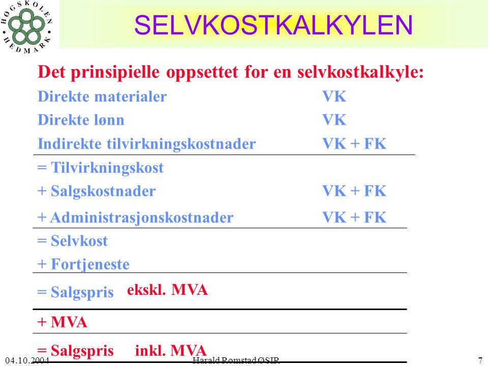 04.10.2004 Harald Romstad ØSIR7 = Salgspris SELVKOSTKALKYLEN Det prinsipielle oppsettet for en selvkostkalkyle: Direkte materialerVK Direkte lønnVK Indirekte tilvirkningskostnaderVK + FK = Tilvirkningskost + SalgskostnaderVK + FK + AdministrasjonskostnaderVK + FK = Selvkost + Fortjeneste ekskl.
