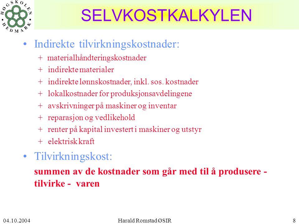 04.10.2004 Harald Romstad ØSIR9 DIVISJONSKALKULASJON •Divisjonskalkulasjon benyttes i virksomheter som har ensartet produksjon: –ett produkt –ensartet produksjonsprosess –prosessindustri som treforedling, smelteverk, meierier som produserer ett halvfabrikata •Alle kostnader betraktes som direkte i forhold til produksjonsmengden; dvs.