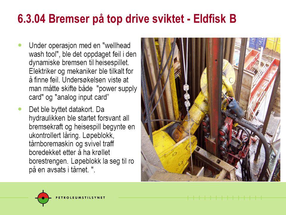 6.3.04 Bremser på top drive sviktet - Eldfisk B  Under operasjon med en