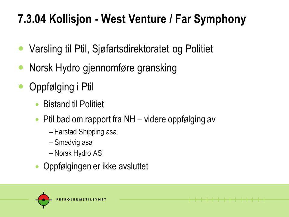 7.3.04 Kollisjon - West Venture / Far Symphony  Varsling til Ptil, Sjøfartsdirektoratet og Politiet  Norsk Hydro gjennomføre gransking  Oppfølging