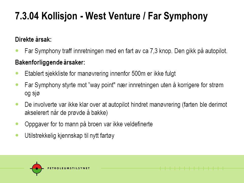 7.3.04 Kollisjon - West Venture / Far Symphony Direkte årsak:  Far Symphony traff innretningen med en fart av ca 7,3 knop. Den gikk på autopilot. Bak