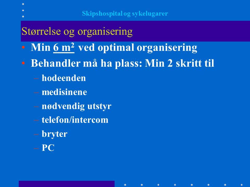 Skipshospital og sykelugarer Størrelse og organisering •Min 6 m 2 ved optimal organisering •Behandler må ha plass: Min 2 skritt til –hodeenden –medisi
