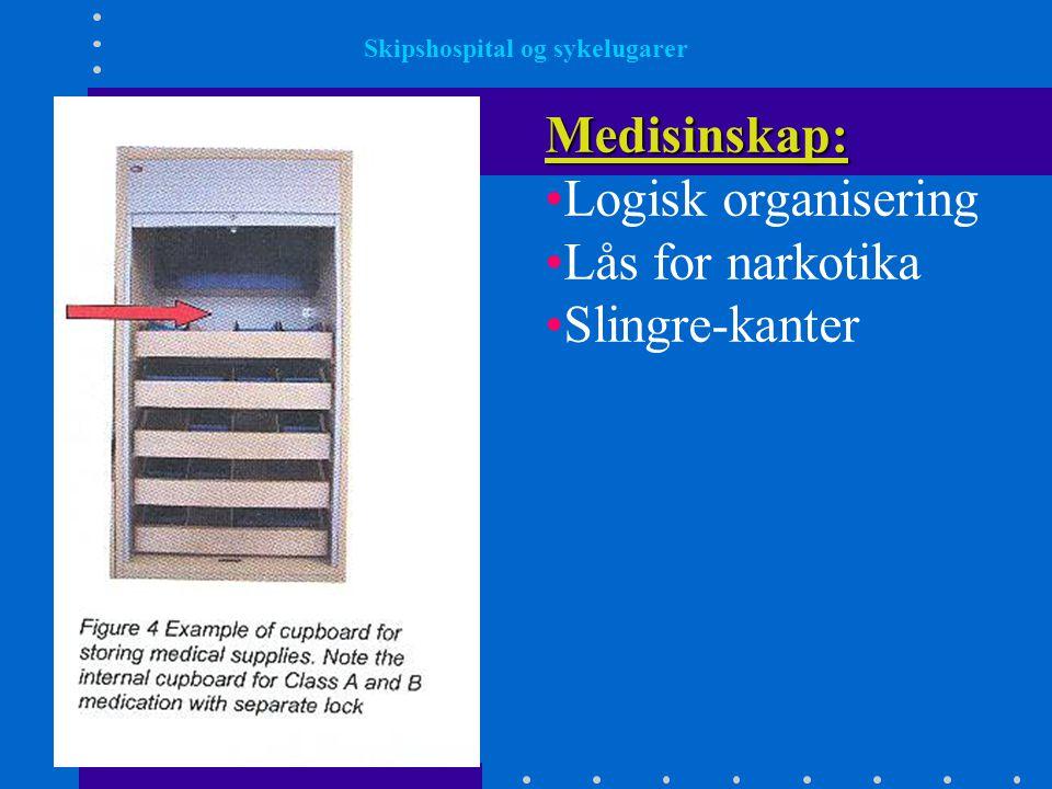 Medisinskap: •Logisk organisering •Lås for narkotika •Slingre-kanter