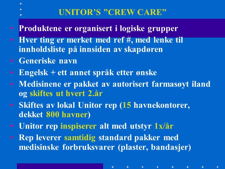 """UNITOR'S """"CREW CARE"""" •Produktene er organisert i logiske grupper •Hver ting er merket med ref #, med lenke til innholdsliste på innsiden av skapdøren"""