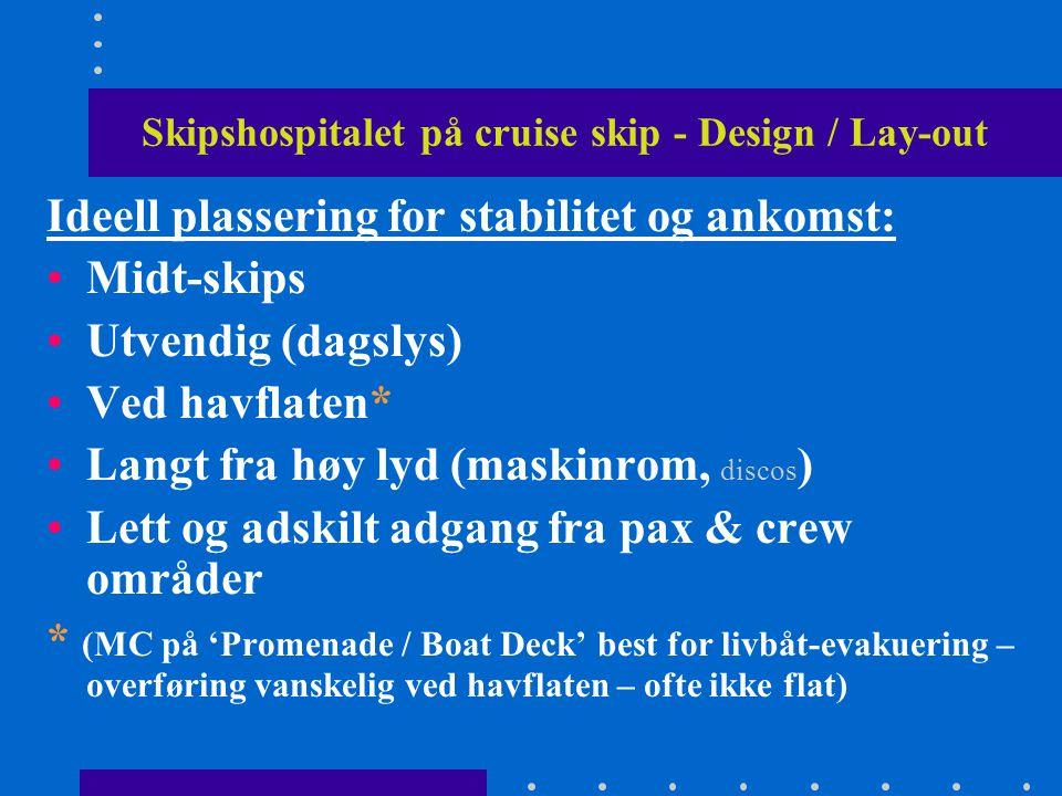 Skipshospitalet på cruise skip - Design / Lay-out Ideell plassering for stabilitet og ankomst: •Midt-skips •Utvendig (dagslys) •Ved havflaten* •Langt