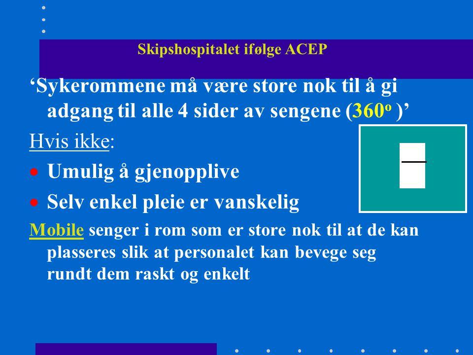 Skipshospitalet ifølge ACEP 'Sykerommene må være store nok til å gi adgang til alle 4 sider av sengene (360 o )' Hvis ikke:  Umulig å gjenopplive  S