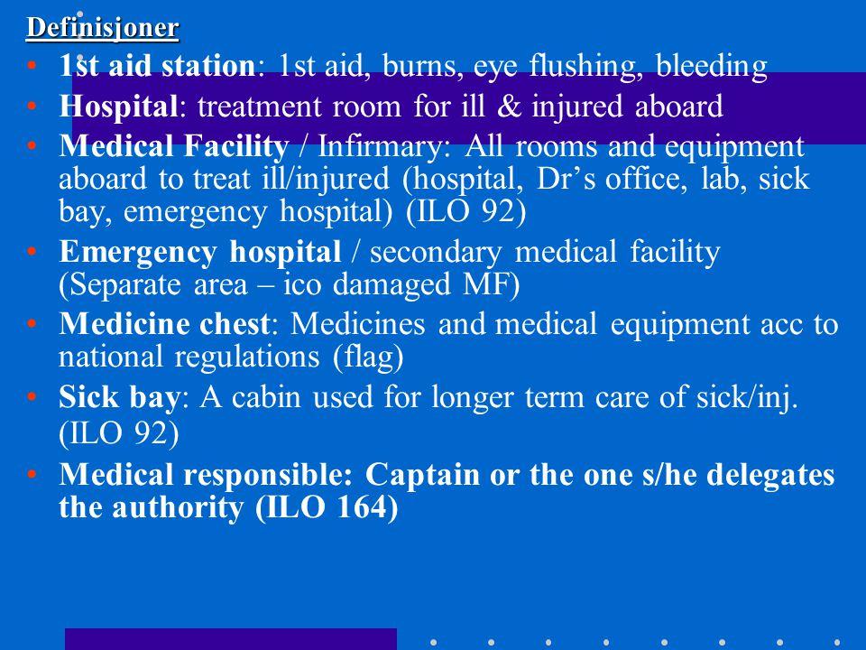 Skipshospital og sykelugarer Skipshospitalet består av •En medisinsk enhet med medisiner + medisinsk utstyr •Et behandlingsrom og en sykelugar, utstyrt for formålet •En eller flere ansvarlige •Kommunikasjon med Radio Medico •Moderne kommunikasjonsutstyr •Regler for bygging, drift og vedlikehold •Prosedyrer for akutt-tilstander, trening og log/journalføring – risiko analyse •Log for alle tilfeller og behandlinger