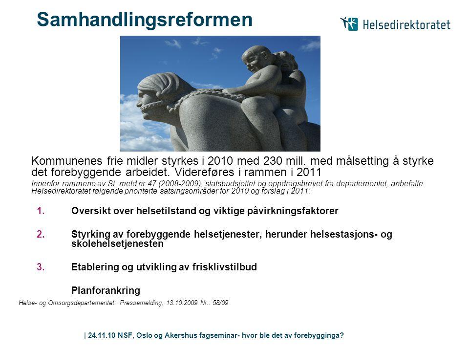 | 24.11.10 NSF, Oslo og Akershus fagseminar- hvor ble det av forebygginga? | 11 Samhandlingsreformen Kommunenes frie midler styrkes i 2010 med 230 mil