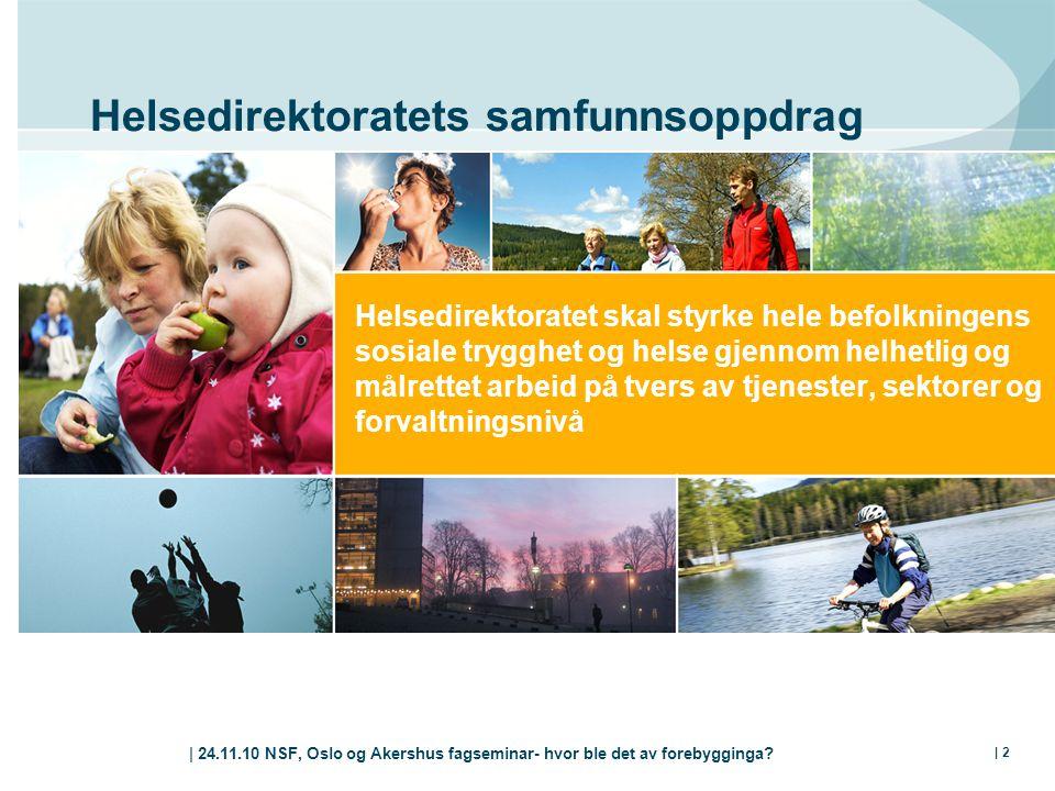 | 24.11.10 NSF, Oslo og Akershus fagseminar- hvor ble det av forebygginga? | 2 Helsedirektoratets samfunnsoppdrag Helsedirektoratet skal styrke hele b