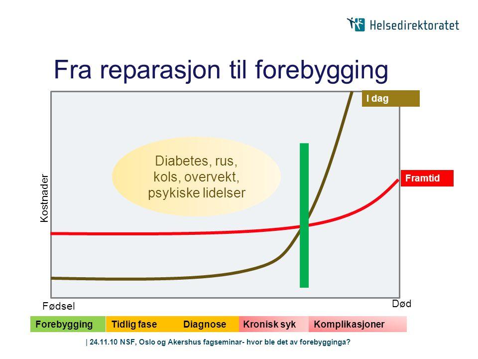 | 24.11.10 NSF, Oslo og Akershus fagseminar- hvor ble det av forebygginga? Kronisk syk Fra reparasjon til forebygging Framtid I dag Forebygging Tidlig