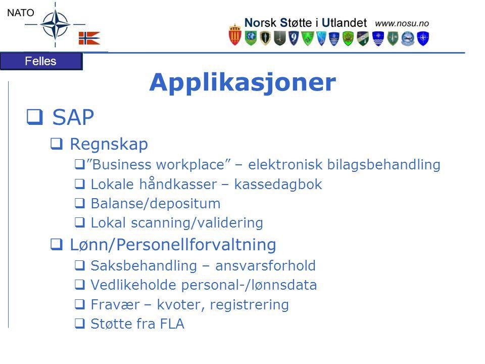 "Felles Applikasjoner  SAP  Regnskap  ""Business workplace"" – elektronisk bilagsbehandling  Lokale håndkasser – kassedagbok  Balanse/depositum  Lo"