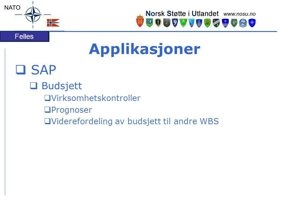 Felles Applikasjoner  SAP  Budsjett  Virksomhetskontroller  Prognoser  Viderefordeling av budsjett til andre WBS