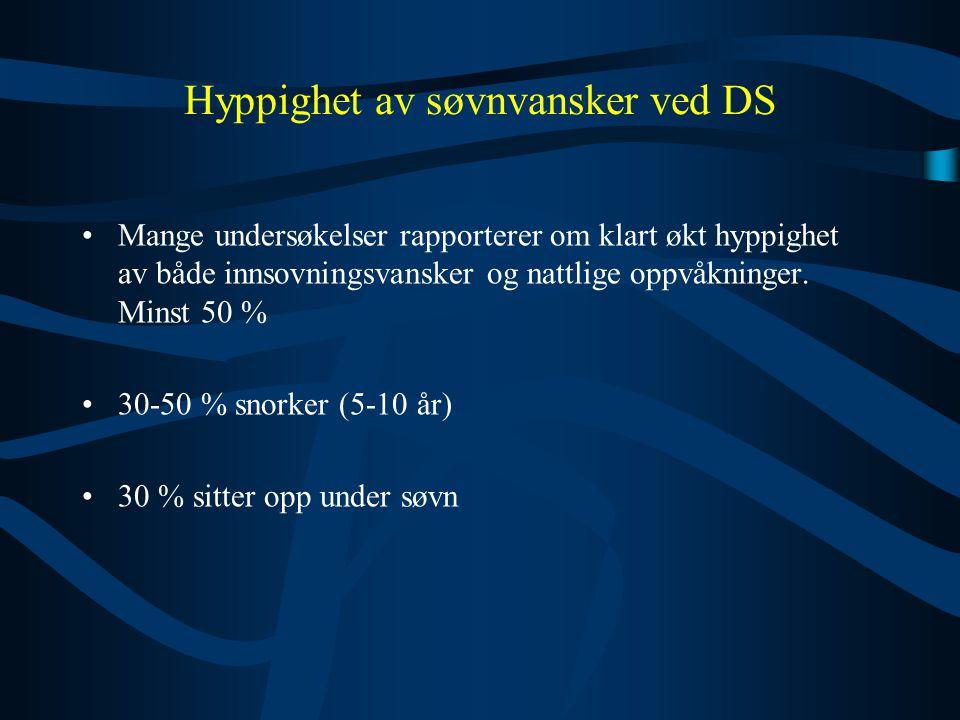 Hyppighet av søvnvansker ved DS •Mange undersøkelser rapporterer om klart økt hyppighet av både innsovningsvansker og nattlige oppvåkninger. Minst 50