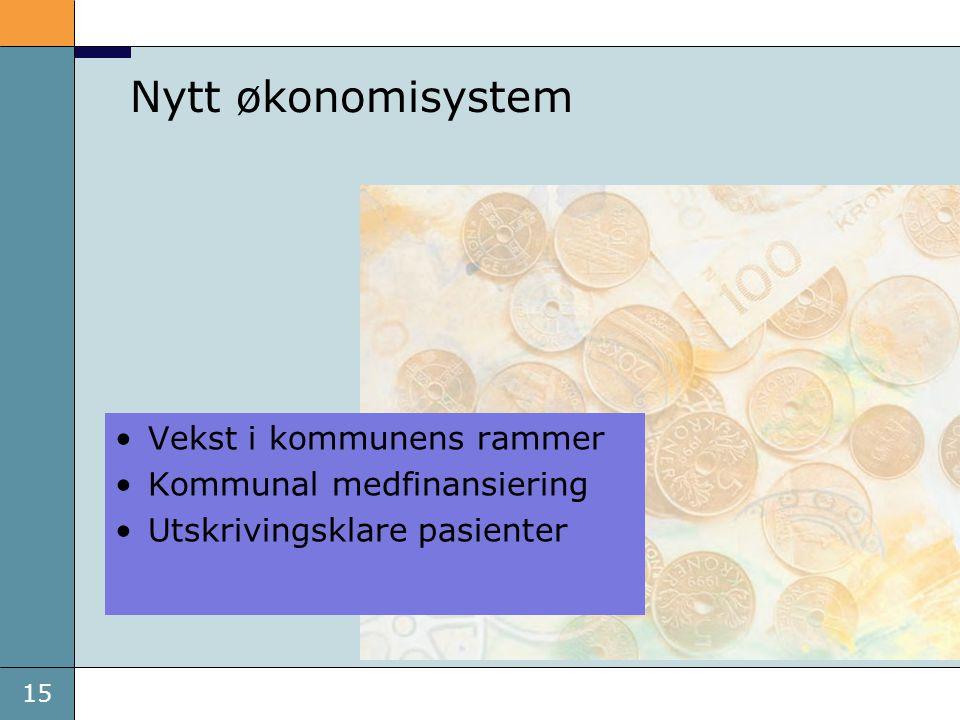 15 Nytt økonomisystem •Vekst i kommunens rammer •Kommunal medfinansiering •Utskrivingsklare pasienter