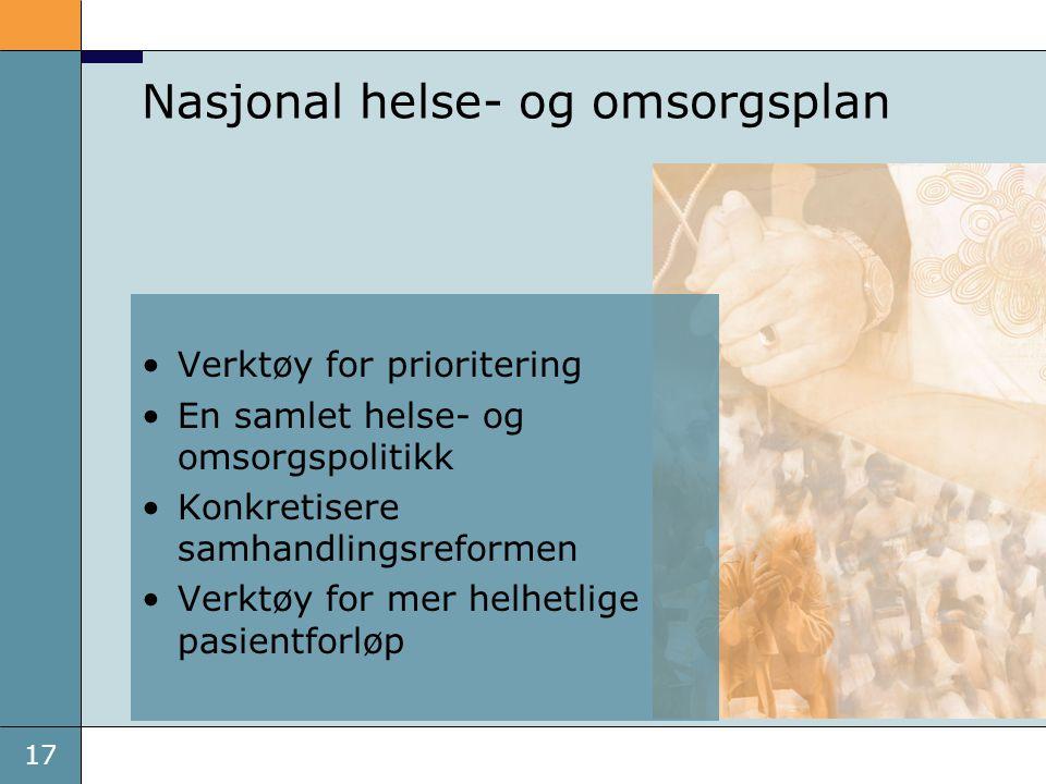 17 Nasjonal helse- og omsorgsplan •Verktøy for prioritering •En samlet helse- og omsorgspolitikk •Konkretisere samhandlingsreformen •Verktøy for mer helhetlige pasientforløp