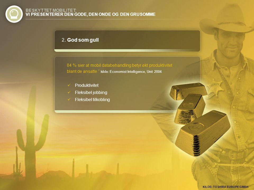 """2. God som gull 84 % sier at mobil databehandling betyr økt produktivitet blant de ansatte."""" kilde: Economist Intelligence, Unit 2004 BESKYTTET MOBILI"""