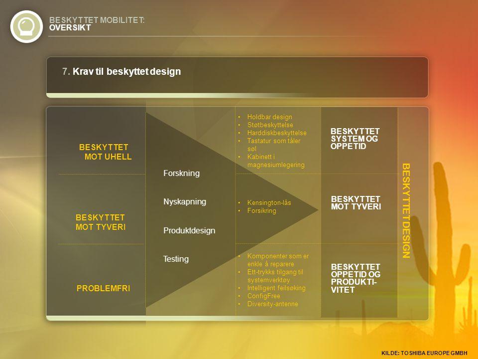 BESKYTTET DESIGN BESKYTTET MOT UHELL BESKYTTET MOT TYVERI PROBLEMFRI 7. Krav til beskyttet design BESKYTTET MOBILITET: OVERSIKT Forskning Nyskapning P