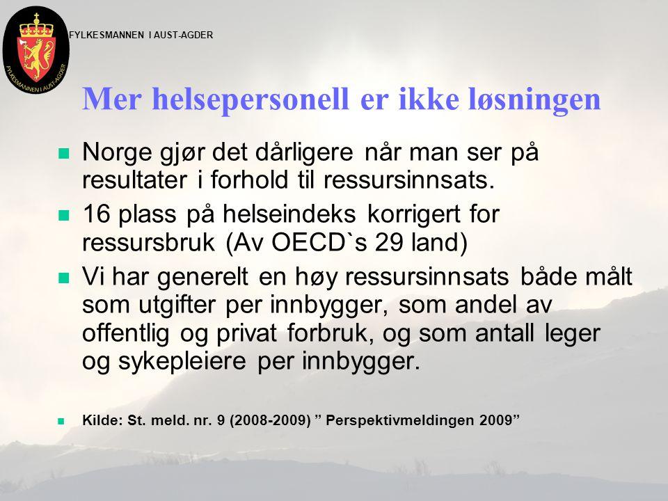 FYLKESMANNEN I AUST-AGDER Mer helsepersonell er ikke løsningen n Norge gjør det dårligere når man ser på resultater i forhold til ressursinnsats. n 16