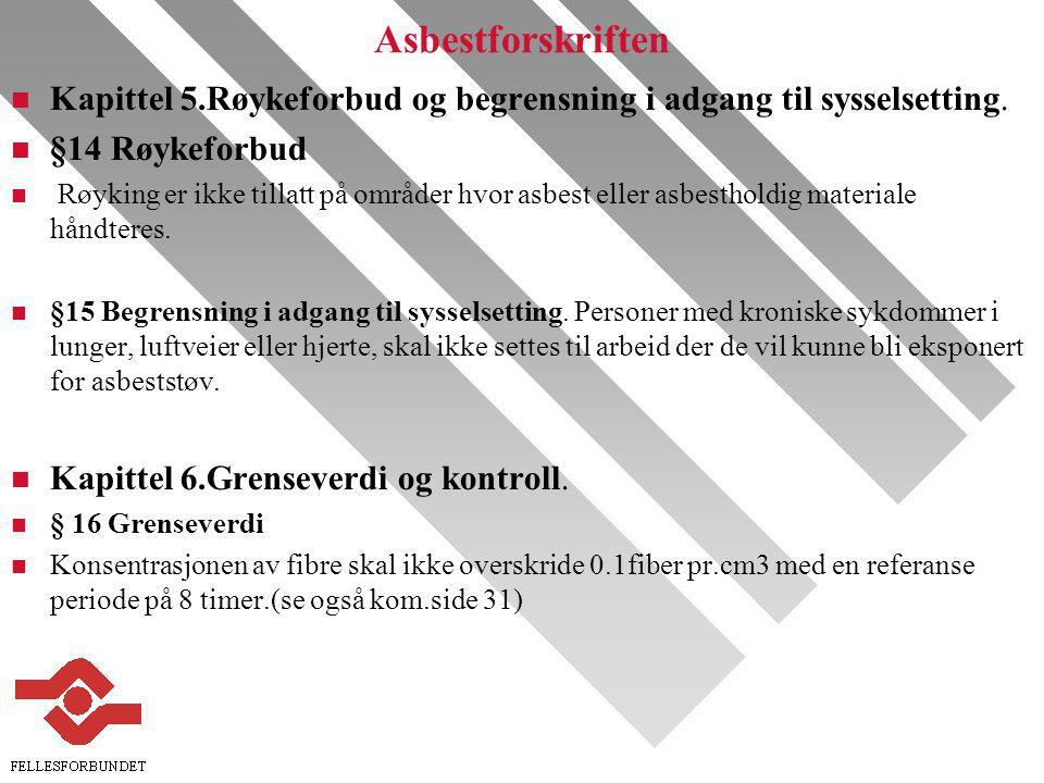 Asbestforskriften n Kapittel 5.Røykeforbud og begrensning i adgang til sysselsetting.