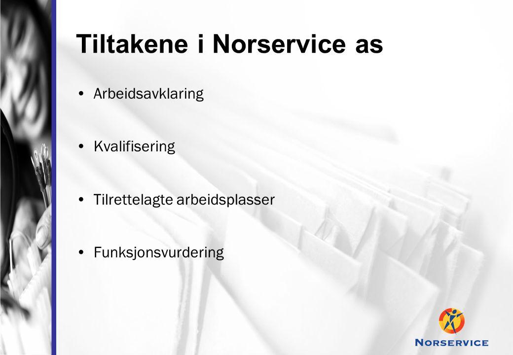 Tiltakene i Norservice as •Arbeidsavklaring •Kvalifisering •Tilrettelagte arbeidsplasser •Funksjonsvurdering