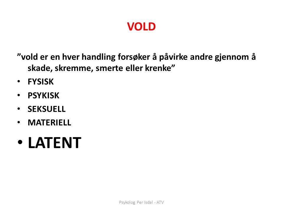 """Psykolog Per Isdal - ATV VOLD """"vold er en hver handling forsøker å påvirke andre gjennom å skade, skremme, smerte eller krenke"""" • FYSISK • PSYKISK • S"""