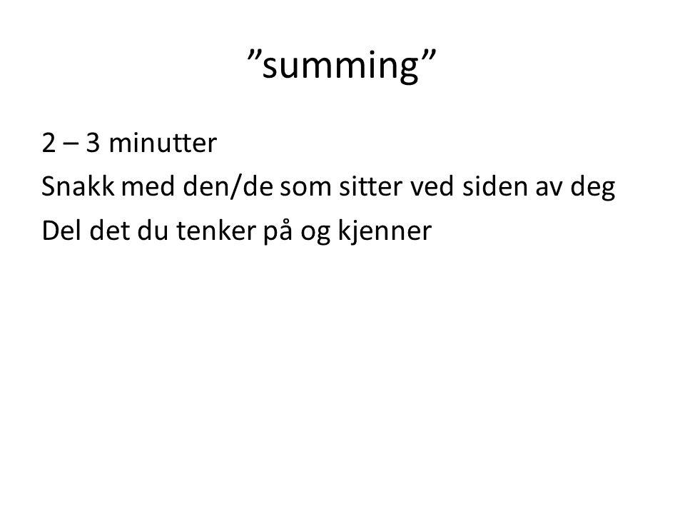"""""""summing"""" 2 – 3 minutter Snakk med den/de som sitter ved siden av deg Del det du tenker på og kjenner"""