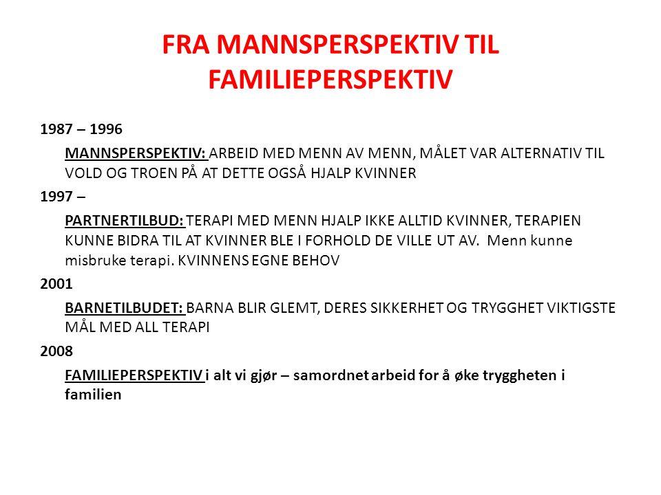 FRA MANNSPERSPEKTIV TIL FAMILIEPERSPEKTIV 1987 – 1996 MANNSPERSPEKTIV: ARBEID MED MENN AV MENN, MÅLET VAR ALTERNATIV TIL VOLD OG TROEN PÅ AT DETTE OGS