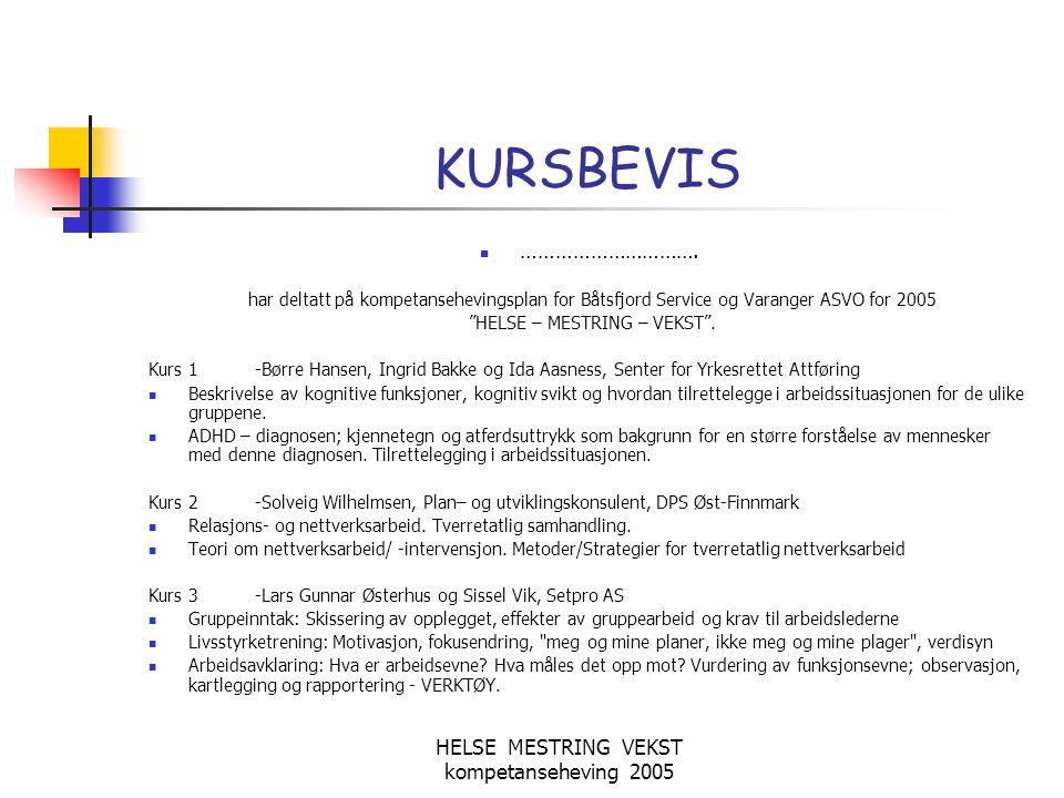 HELSE MESTRING VEKST kompetanseheving 2005 KURSBEVIS  …………………………. har deltatt på kompetansehevingsplan for Båtsfjord Service og Varanger ASVO for 200