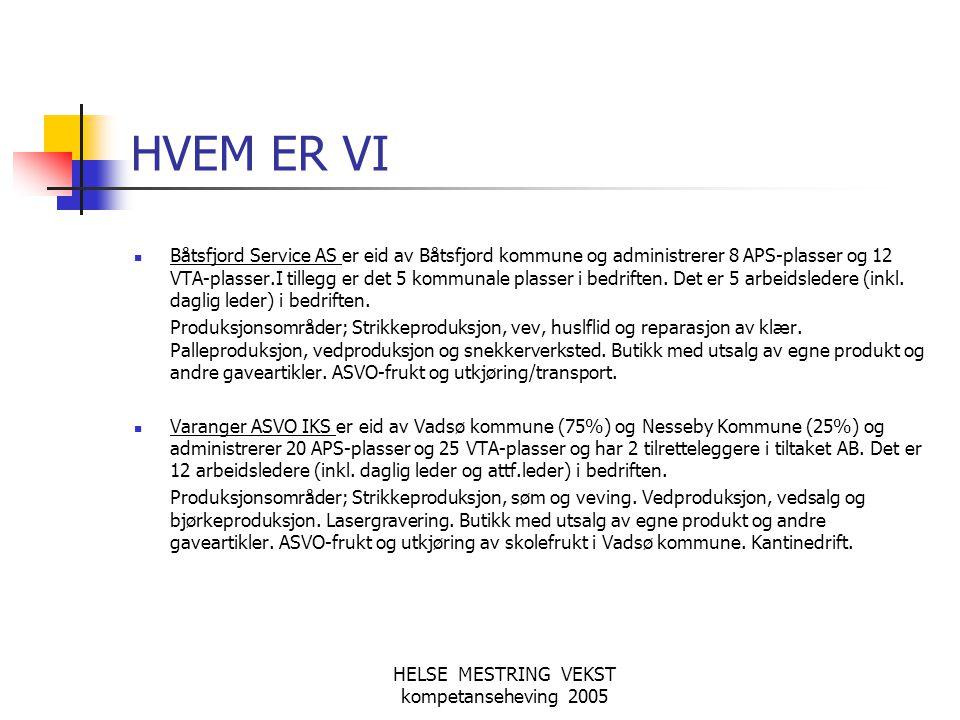 HELSE MESTRING VEKST kompetanseheving 2005 HVEM ER VI  Båtsfjord Service AS er eid av Båtsfjord kommune og administrerer 8 APS-plasser og 12 VTA-plas