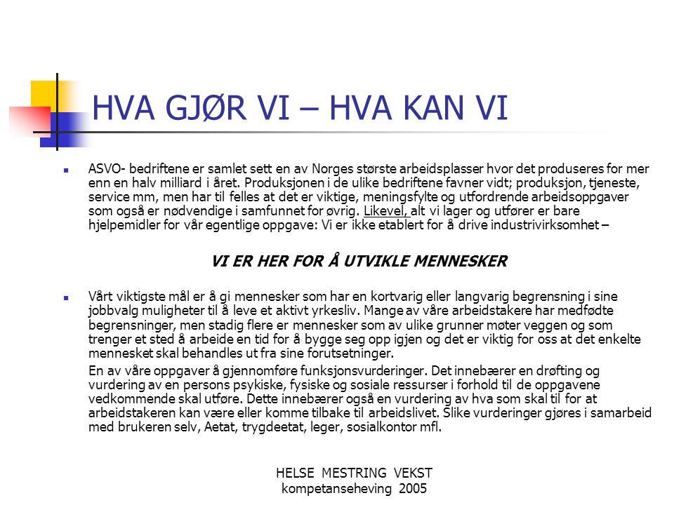HELSE MESTRING VEKST kompetanseheving 2005 HVA GJØR VI – HVA KAN VI  ASVO- bedriftene er samlet sett en av Norges største arbeidsplasser hvor det pro