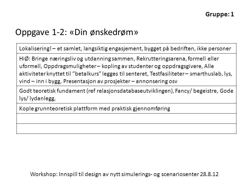 Workshop: Innspill til design av nytt simulerings- og scenariosenter 28.8.12 Oppgave 1-2: «Din ønskedrøm» Lokalisering.