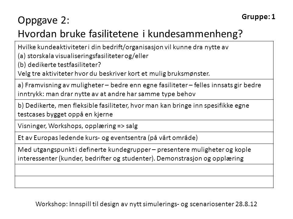 Workshop: Innspill til design av nytt simulerings- og scenariosenter 28.8.12 Gruppe: 1 Oppgave 2: Hvordan bruke fasilitetene i kundesammenheng.