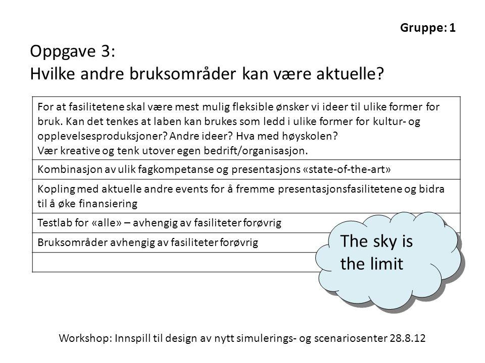 Workshop: Innspill til design av nytt simulerings- og scenariosenter 28.8.12 Gruppe: 1 Oppgave 3: Hvilke andre bruksområder kan være aktuelle.