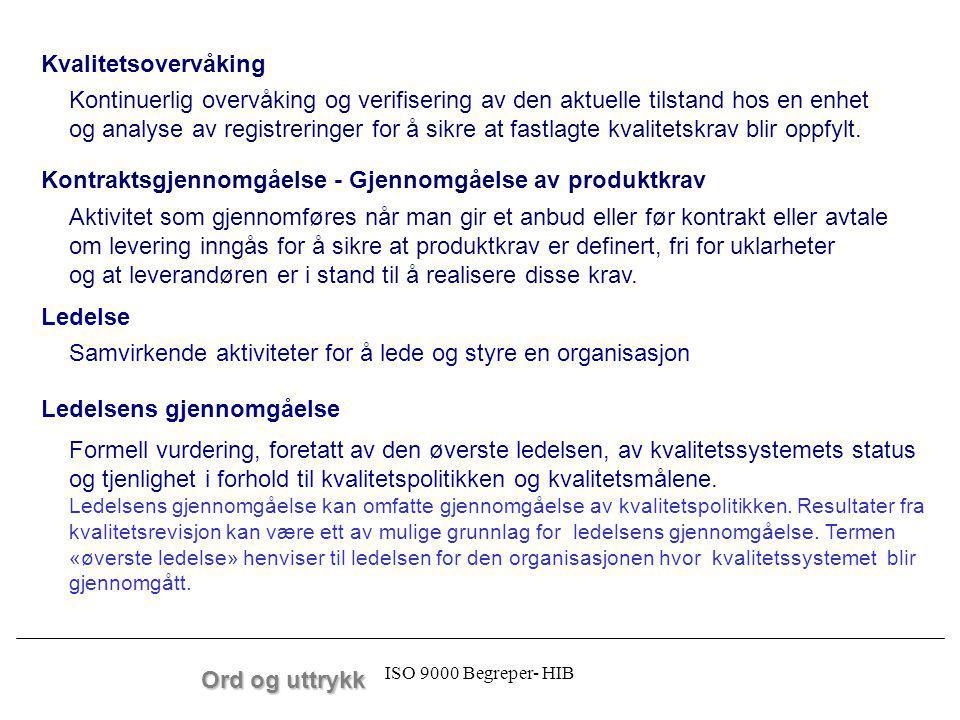 ISO 9000 Begreper- HIB Ord og uttrykk Kontinuerlig overvåking og verifisering av den aktuelle tilstand hos en enhet og analyse av registreringer for å