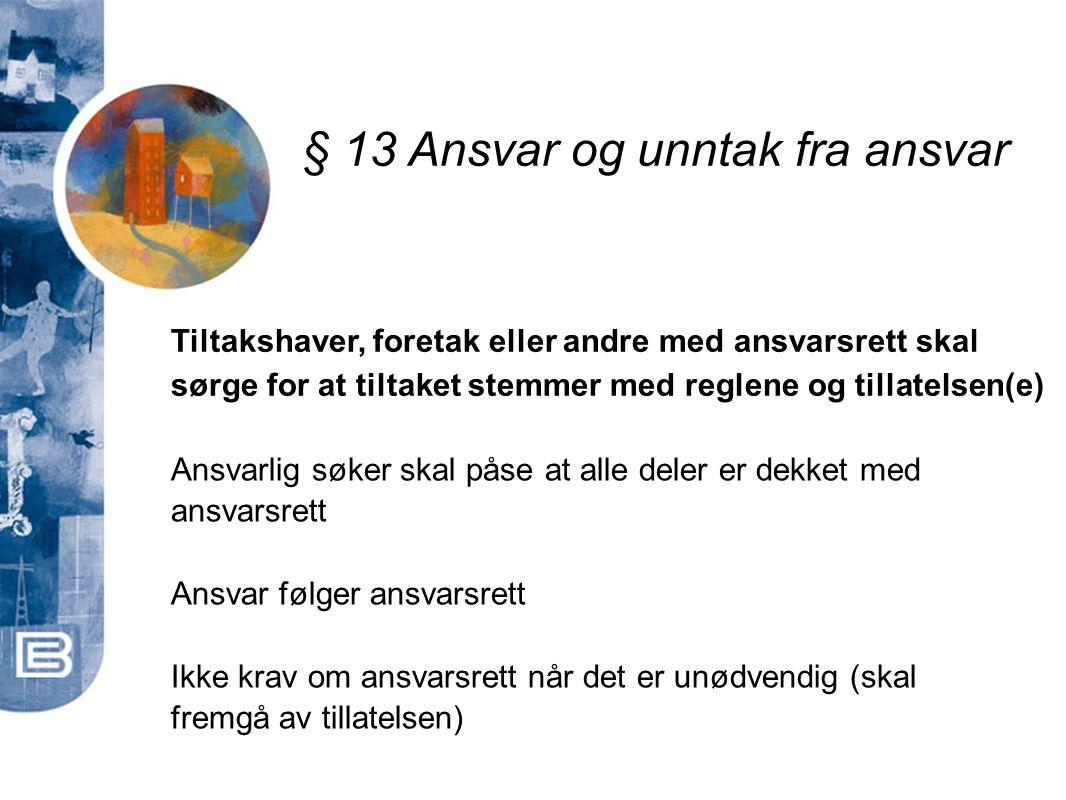 § 13 Ansvar og unntak fra ansvar Tiltakshaver, foretak eller andre med ansvarsrett skal sørge for at tiltaket stemmer med reglene og tillatelsen(e) An