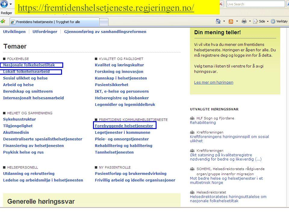 06.11.2010| Samling Norges Orienteringsforbund | 29 https://fremtidenshelsetjeneste.regjeringen.no/